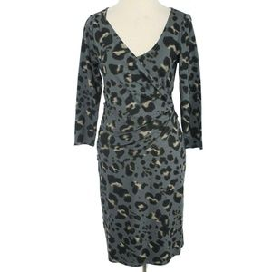 ANN TAYLOR Leopard Animal Print Faux Wrap Dress
